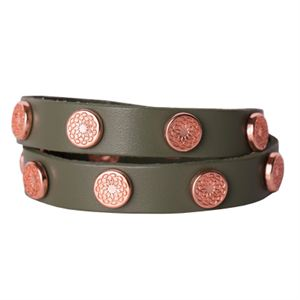 Picture of Olive Leather Wrap with Rose Gold Studs